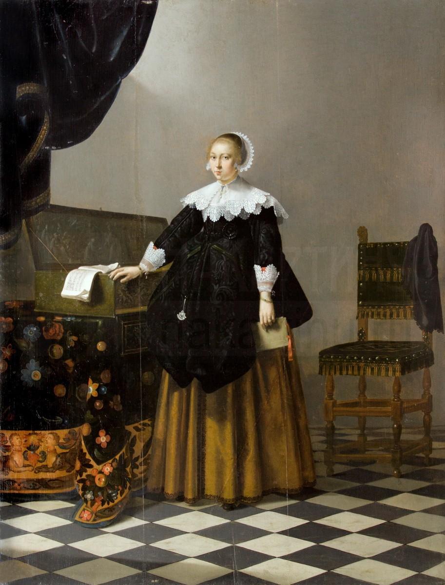 Молодая женщина, стоящая у верджинела