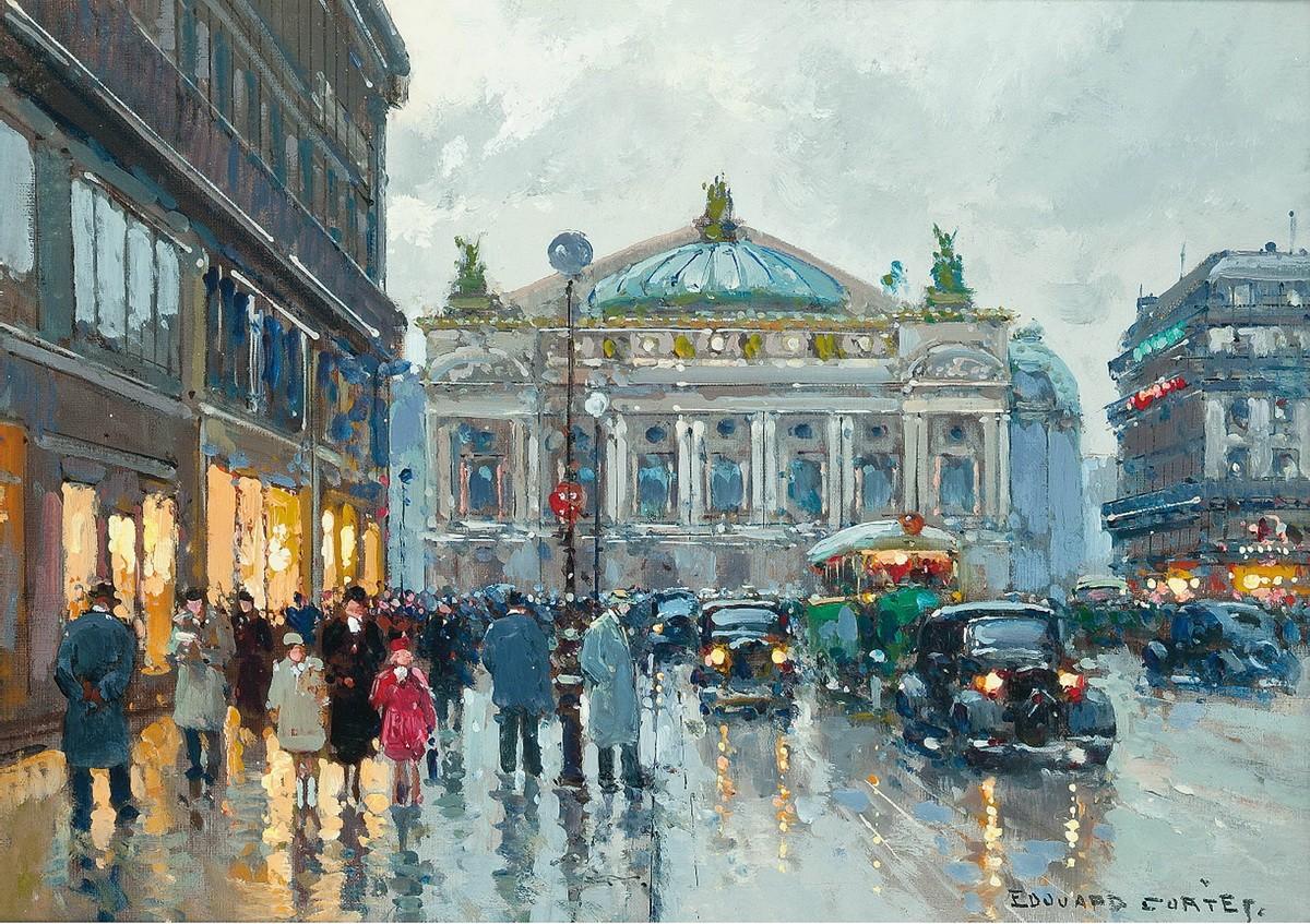 Фигуры перед оперным театром в дождь
