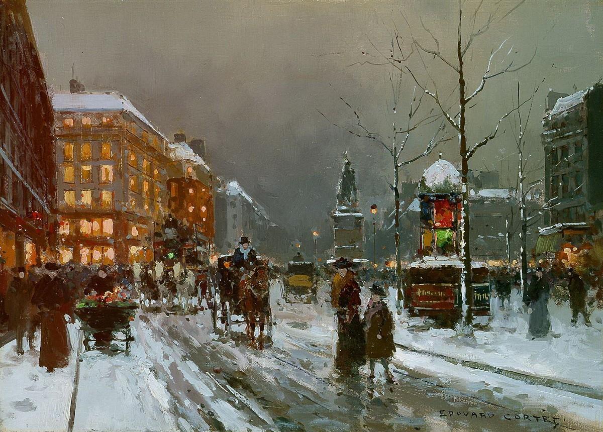 Площадь Клиши зимой.