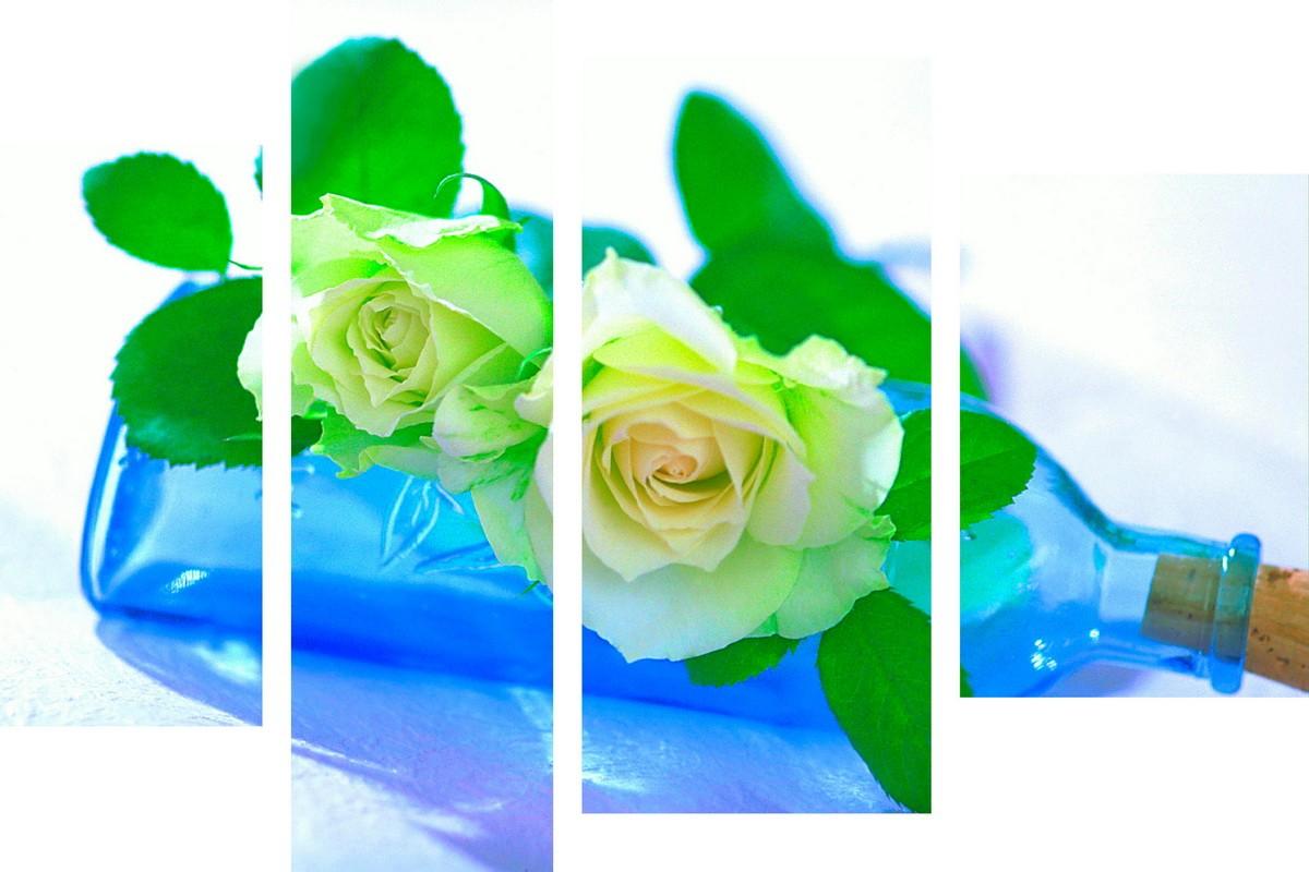 Розы и голубая бутылка