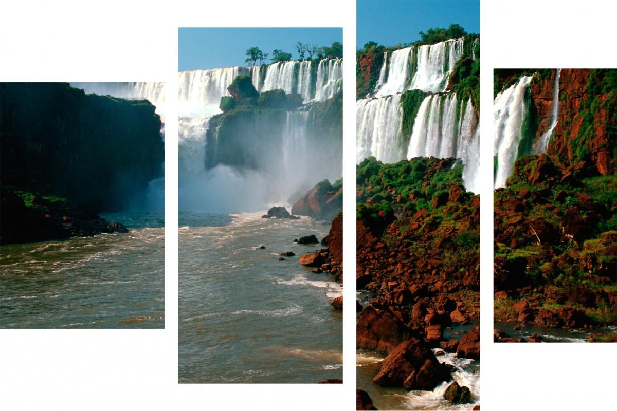 Водопад и красный берег