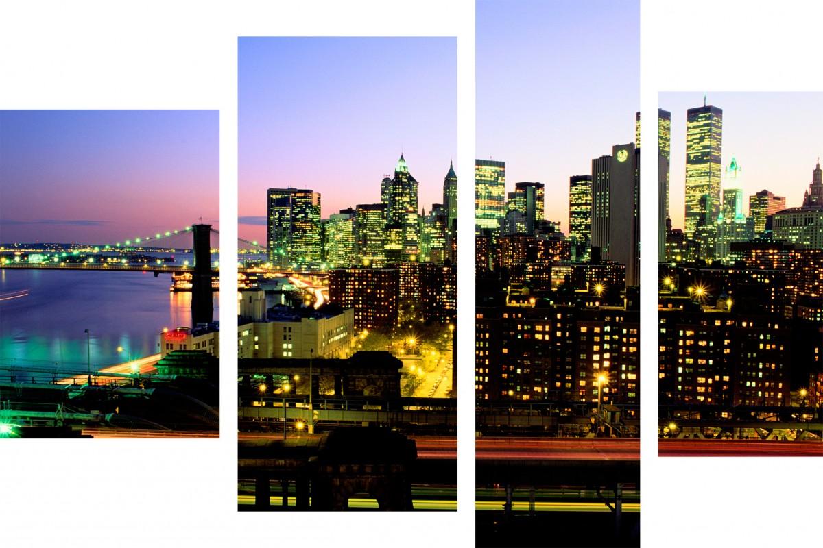 Ночной Нью-Йорк в огнях