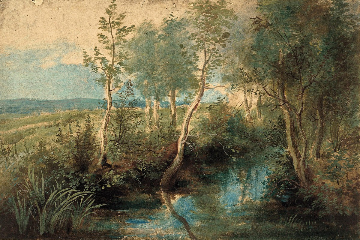 Пейзаж с ручьем