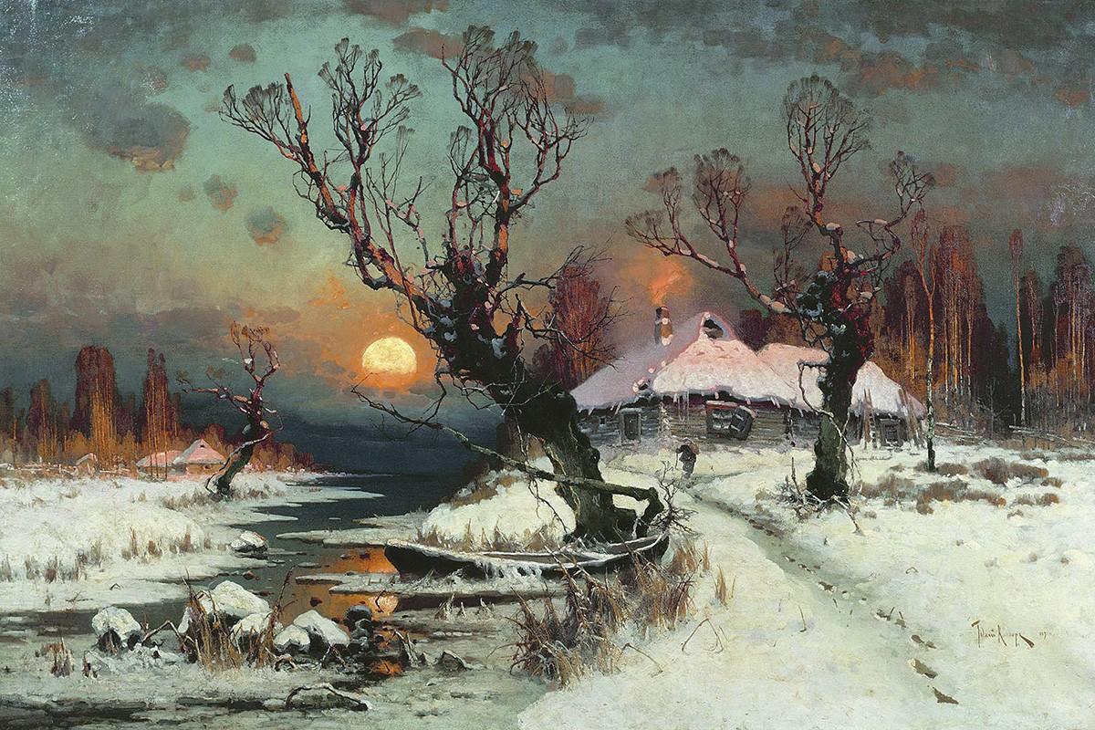 Закат солнца зимой