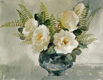 Белые розы и папоротник